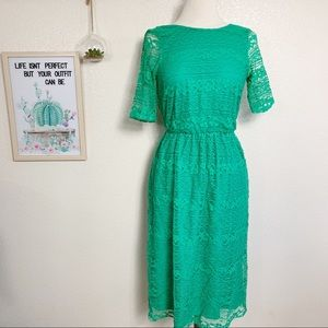 ASOS Midi Dress in Lace Wrap Back Green Sz 8